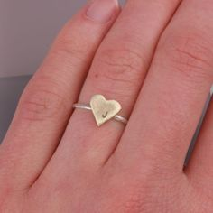 $18.99 Heart Initial Brass and Sterling Silver Ring