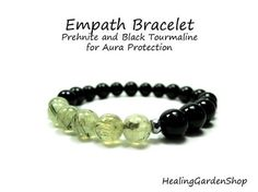 Empath and Aura Protection // Prehnite and Black Tourmaline // Reiki // Energy Bracelet // Best Selling Item // Healing Garden Shop Crystals And Gemstones, Stones And Crystals, Black Crystals, Healing Stones, Crystal Healing, Yasmine Galenorn, Empath Abilities, Intuitive Empath, Empath Traits