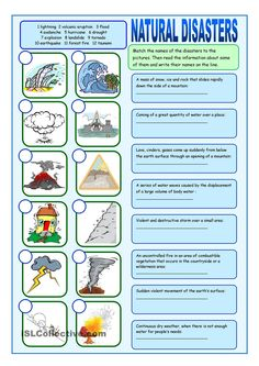 Natural Disasters Matching Exercises worksheet - Free ESL printable worksheets m. - Science and Nature Social Studies Worksheets, Vocabulary Worksheets, Worksheets For Kids, Printable Worksheets, Science Worksheets, Science Lessons, Lessons For Kids, Earth Science Activities, Life Science