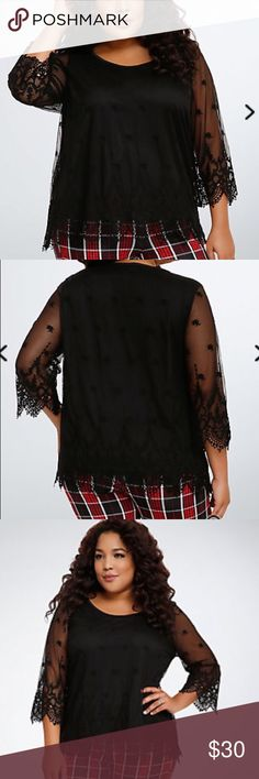 Torrid embroidered mesh blouse Torrid embroidered mesh blouse. Never worn. Great for going out. Beautiful arm detail. torrid Tops