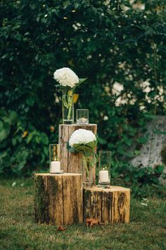Candles and Bouquets on Logs    Camp Site Wedding in British Columbia · Rock n Roll Bride