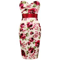 LADIES NEW CREAM SATIN FLORAL FITTED VINTAGE PENCIL EVENING COCKTAIL