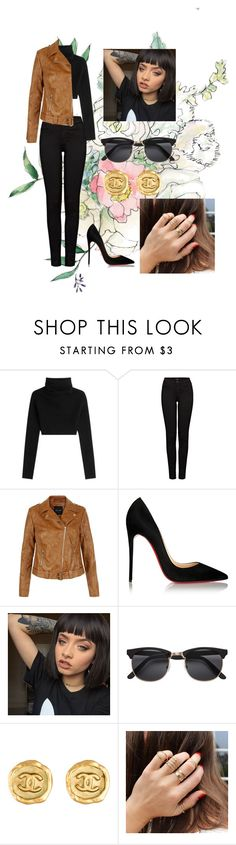 """""""Night out"""" by softtissue on Polyvore featuring Valentino, J Brand, New Look, Christian Louboutin and Chanel"""