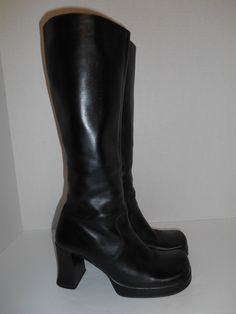Vintage  womens  90s tall Chunky Heel boots by ATELIERVINTAGESHOP, $25.00