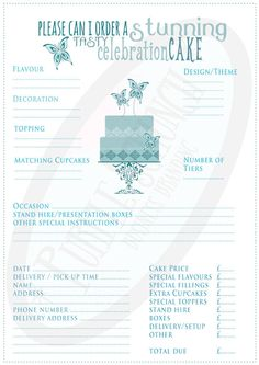 cake order form template free download   Google Search | Projects