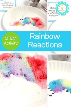 Colorful Rainbow Baking Soda and Vinegar Experiment for Kids!