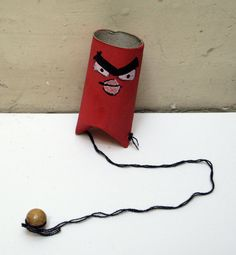 Angry Bird Game - toilet paper roll, wooden bead, yarn or string