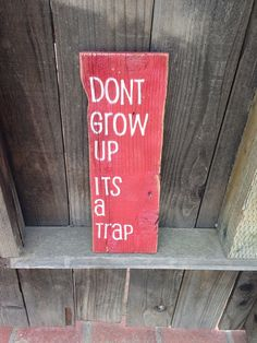 """Don't grow up, it's a trap."" sign LOL"