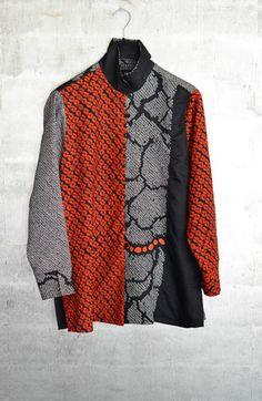 Long shibori blouse in several vintage Japanese silk tie-dyes.