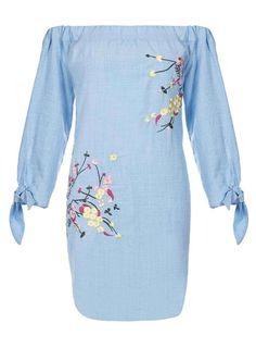 *Quiz Blue Bardot Embroidered Shift Dress