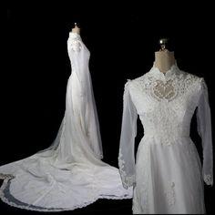 Vintage 1970s Wedding Dress Chiffon & by ArtifactVintage