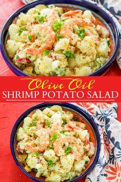 Mayo-free shrimp potato salad made with a tasty olive oil based vinaigrette! Health Salad Recipes, Best Salad Recipes, Side Dish Recipes, Side Dishes, Main Dishes, Dinner Recipes, Grilled Chicken Salad, Shrimp Salad, Seafood Salad