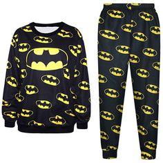 Black Cool Ladies Batman Symbol 3D Printed Pullover Sweatshirt Suit featuring polyvore fashion clothing black