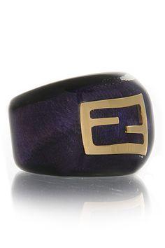 fendi wood effect purple plexiglass ring
