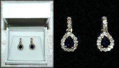 .50 ctw Midnight Blue Sapphire .50 ctw Diamond 14K Y Gold Post  Earrings NWT #ADL #DropDangle