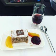 Delicious! #Chestnut #Cake and a little swig of #port.  #BusinessClass #FlySwiss #SwissAirlines #SwissBusinessClass #Luxury #Flying #WorldTraveller #Traveller #ZurichToSanFrancisco #Zurich #SanFransisco #Celebration #Holiday #Christmas #QualityTime #Love #ZRHtoSFO #EnjoyLife #CoupleGoals @FlySwis @SwissAirlines #foodporn #dessert by posing_queen