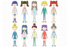 Cute Girl Clip Art - Illustrations - 1