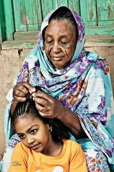 Here is Haboba braiding her granddaughter's hair! The way I picture it anyway.
