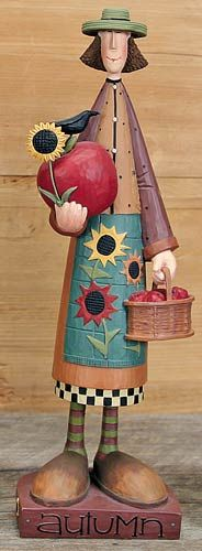 Autumn Calendar Girl Figurine – Everyday Folk Art Figurines & Collectibles – Williraye Studio $20.00