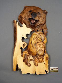 Bear and Trapper Carved on Wood Wood Carving with Bark Hand Made Gift Wall Hanging for a hunt lovers Rustic OOAK Gift for Hunter Cabin Deco
