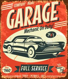 Illustration about Grunge retro car service sign. Illustration of oldfashioned, machine, fixing - 34203981 Pub Vintage, Vintage Metal Signs, Vintage Type, Vintage Racing, Vintage Decor, Garage Signs, Garage Art, Auto Retro, Retro Cars