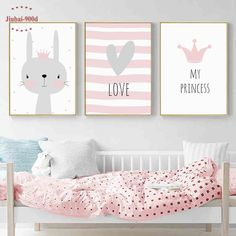 Cartoon Kids Room Decoration Animal Posters and Prints Canvas Painting Nursery Wall Art Decorative Crown Rabbit Picture Baby Room Art, Kids Room Wall Art, Nursery Wall Art, Nursery Decor, Wall Decor, Room Wall Painting, Nursery Paintings, Nursery Prints, Canvas Paintings