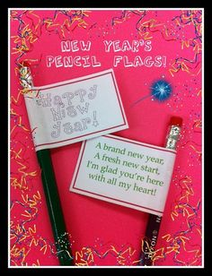 New Year pencils for students--free printable flags