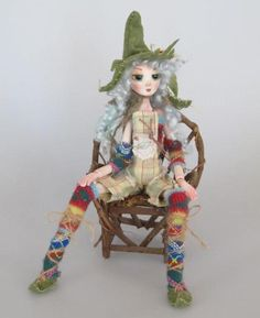 GEORGIE a Garden Gnome, 12 inch paper clay ball jointed puppet style doll, handmade in the USA on Etsy, $55.00