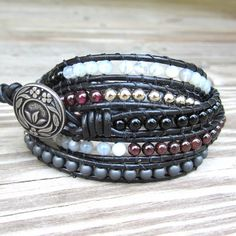 white Beaded Leather Wrap Bracelet  | Jazzfest - black leather 5-wrap bracelet garnet onyx gemstone beads ...