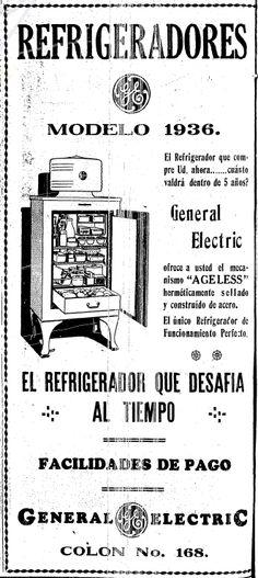 1936 - Refrigeradores General Electric - Anuncio publicado en el Informador Guadalajara, Jalisco México