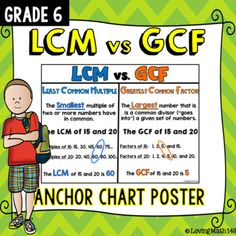 Least Common Multiple (LCM) vs. Greatest Common Factor (G Math Charts, Math Anchor Charts, Sixth Grade Math, Fourth Grade Math, Lcm And Gcf, Math Lessons, Math Skills, Math Tips, Least Common Multiple