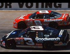 Dale Earnhardt Sr. & Dale Earnhardt Jr. racing side by side.