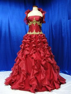 Red Wedding Dress - This Red Wedding Dress is fully customizable. It's available in any color, with or without a train, zipper back or corset back, sleeves, higher necklines, and many more options. Simply email us with any questions. We would love to help you find your beautiful dream wedding dress in your favorite color.