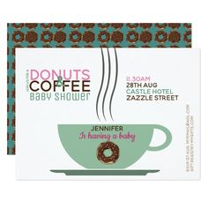 COFFEE DONUTS Baby Shower Invitation Pink Turq Custom #babyshower invitations - Make your special day with these personalized #baby #shower #invitations change the colors font and images and make them your own.