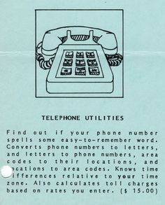 Flyer ad for Telephone Utilities program (1982). Area Codes, Telephone, Connection, Software, Coding, Letters, Words, Phone, Letter