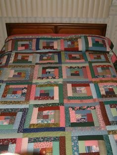 Patchwork queen size Log Cabin handquilted new by MarlenesQuilts, $400.00