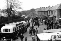 A steam parade makes it way along Enys Road in Camborne to mark the centenary of the death of engineer and inventor Richard Trevithick in April 1933