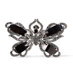 Liquidation Channel - Affordable Creature Courture - Butterfly Brooch with Swiss Marcasite, Onyx in Sterling Silver Nickel Free TGW 18.00 cts.