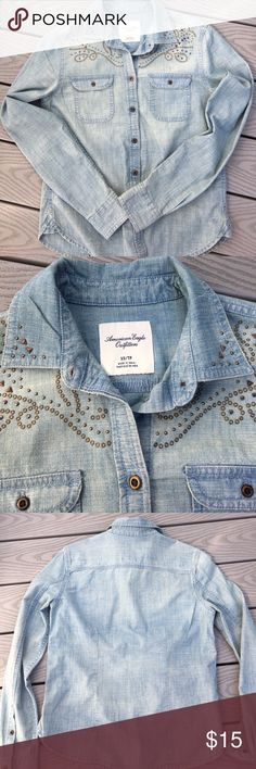 Women's Western Shirt Women's American Eagle Outfitters Western Denim-looking Button Down long sleeve shirt. Brand new, without tags. Never worn. Size is an XS but it would also fit a Size S. Smoke-Free Home. American Eagle Outfitters Tops Button Down Shirts