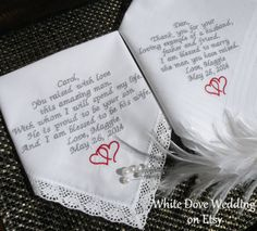 Embroidered Wedding Handkerchiefs Mother & by WhiteDoveWeddings, $49.50 #wedding #weddinggifts #weddinggift #inlaws #love