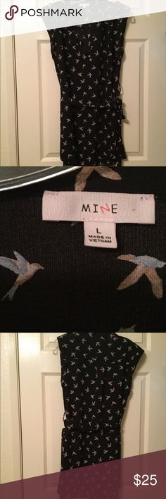 Black Dress Belted black dress with colorful birds. Still in good condition. mine Dresses Midi