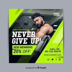 Never give up sport banner Social Media Ad, Social Media Banner, Social Media Design, Creative Poster Design, Creative Posters, Sport Banner, Corporate Design, Plan Social, Gym Design