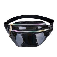 Women Fanny Pack Steam Punk Leg Bag Reflective Laser Shoulder Bag Women's Belt Waist Bag Pochete Women Waist Pack Color Black A Holographic Fashion, Or Violet, Cooler Style, Pink Belt, Gris Rose, Casual Belt, Hip Bag, Belt Pouch, Waist Pack