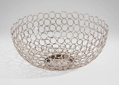 "Open Weave Bowl by Ethan Allen / Reg. $199 now $159.20 / 15""Dia x 6""H / brass wire with polished nickel finish / not food safe"
