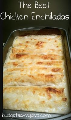 'The Best Chicken Enchiladas' I bet they're not better than Noah's mom's. THOSE are the best enchiladas. I Love Food, Good Food, Yummy Food, Delicious Desserts, Mexican Dishes, Mexican Food Recipes, Mexican Meals, Best Enchiladas, White Chicken Enchiladas