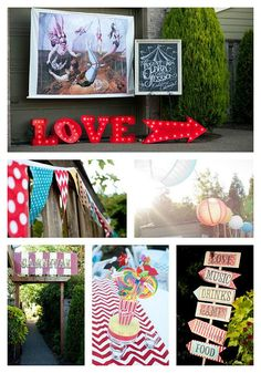 Carnival theme-back yard wedding reception - I don't like the whole full blown carnival circus theme, but I will definitely steal some ideas! Carnival Themed Party, Carnival Birthday Parties, Carnival Themes, Circus Birthday, Circus Theme, Circus Party, Carnival Diy, Backyard Carnival, Circus Decorations