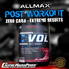 #CVOL The best Post-Workout Recovery product with Zero Sugar! 100% Chelated Creatine for maximum absorption, 44% of your daily value Magnesium in the most bioavailable form, 1 g L-Carnitine, 800 mg Beta Alanine - everything you need to increase your strength rapidly and recover faster than you ever thought possible. You take a Pre, now get the perfect Post. #getgains #postworkout #gymlife #fitfam #creatine #magnesium #carnitine #supplements  http://www.allmaxnutrition.com/products-type/cvol/