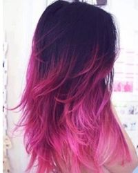 Fun And Funky Colorful Ombre Hair For Summer black long hair with bright pink dip dye ombre ends – Hairstyle Muse