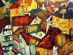"""""""A Krumau Town Crescent"""" by Egon Schiele. $224 USD. 24""""h x 36""""w (60x90cm). To shop this painting click here: http://globalwholesaleart.com/a-krumau-town-crescent-p-6587.html"""