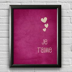Je Taime I Love You French Typography Poster by LotusLeafCreations, $12.00
